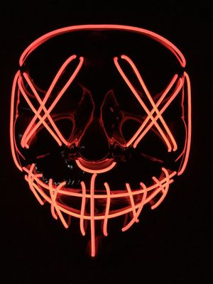 New halloween costume mask cosplay rave party LED glow scary mask costume party orange pink green or white purge movie dance club for Sale in Whittier, CA