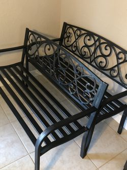2 New Steel Bench With Cast Iron Backrest $90 Can Hold Up To 500lbs -Professionally Assembled $160 For A Pair for Sale in Kissimmee,  FL