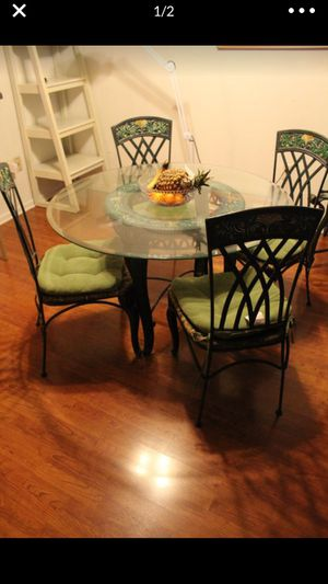Dining, Table Glass , 4 Chairs, Wrought Iron..!!! for Sale in Hollywood, FL