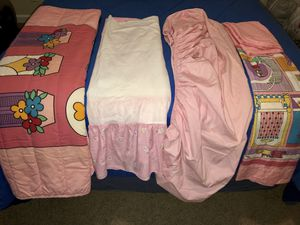 Cover, 4 pieces For bed crib for girl in like new condition. $10 for both for Sale in Stone Mountain, GA