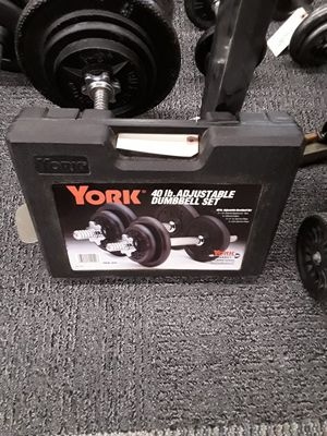 York 40 lb adjustable dumbbell set for Sale in Willoughby, OH