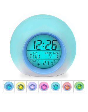 Kids Alarm Clock - Wake Up Light Digital Clock with 7 Colors Changing, Touch Control and Snooze Function for Bedrooms for Sale in Garland, TX