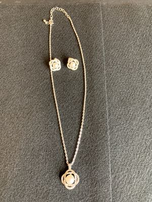 Faux Diamond and Silver Necklace and Earring Set for Sale in Vancouver, WA