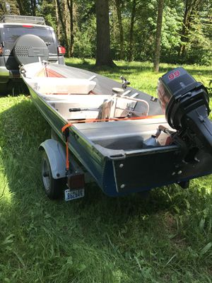 14' aluminum boat with new 9.9hp engine and ez-loader trailer for Sale in Washougal, WA