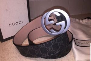 Gucci Interlocking Signature Guccissima Silver Buckle Black Lining Leather Belt Authentic for Sale in The Bronx, NY