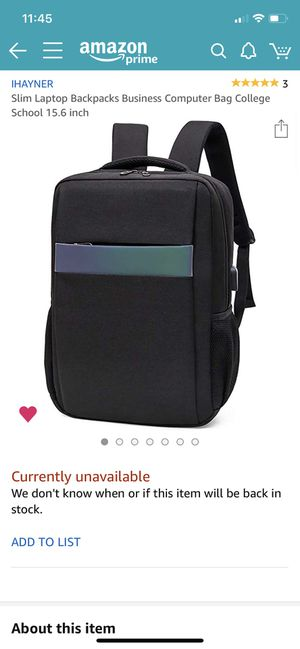 Slim Black Laptop Backpack for Sale in Houston, TX