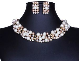 Simulated Pearl and Crystal 18kt Gold Plated Bridal Necklace and Earring Set for Sale in Aspen Hill, MD