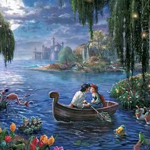 "Thomas Kinkade COPY Disney THE LITTLE MERMAID canvas wooden mounted. 11"" x 14"" for Sale in Dover, FL"