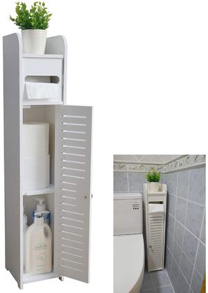 NEW! Small Bathroom Storage Corner Floor Cabinet with Doors and Shelves, Thin Toilet Vanity Cabinet, Narrow Bath Sink Organizer, Towel Storage Shelf for Sale in Stuart, FL