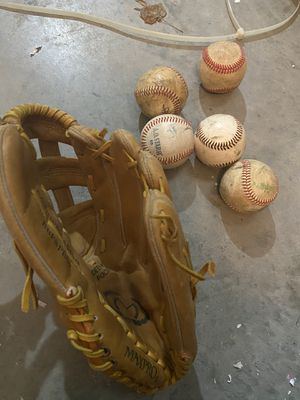 Baseball glove with balls for Sale in Grifton, NC