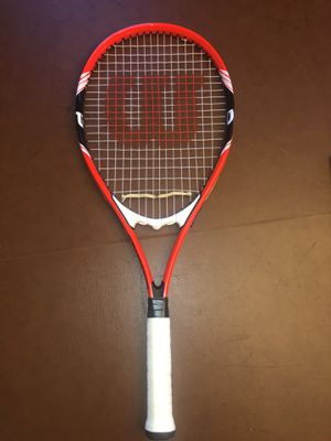 Wilson Federer Tennis Racket and 50 tennis balls in a rack for Sale in Westfield, MA