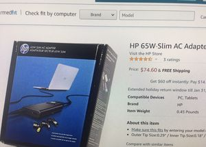 HP 65W Slim AC adapter HP (H6Y82UT#ABA) charger for multiple laptop models for Sale in Bellevue, WA