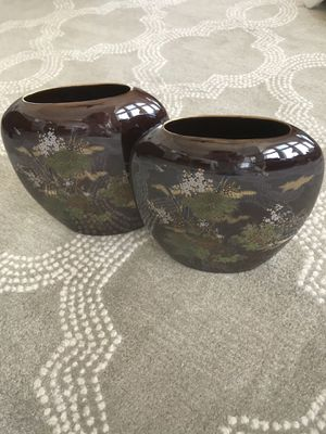 Pair of Japanese flat oval vases with bamboo and flower designs for Sale in MENTOR ON THE, OH