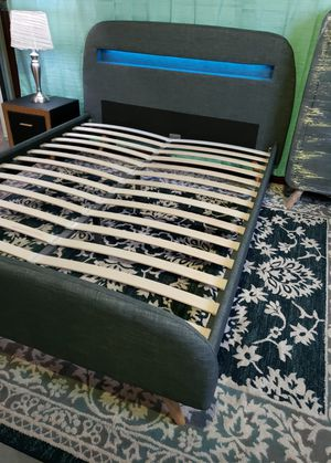 QUEEN upholstered platform bed frame come NEW IN BOX with nightstand, mattress sold separately for Sale in West Palm Beach, FL