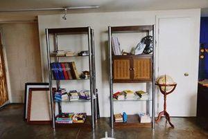 Mid century modern brown wooden chrome 3-layer shelf w cabinet for Sale in Santa Barbara, CA