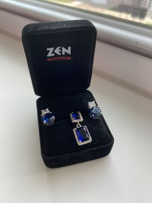 Silver sapphire set ( earrings and necklace charm) for Sale in Oak Creek, WI