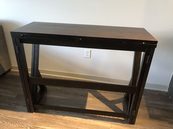 Espresso Brown Folding Dining Table w/backless Stools