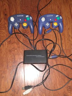 2x Genuine GameCube Controllers + Adapter for Sale in Houston,  TX