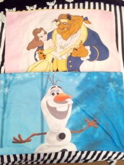 Disney Beauty And The Beast And Frozen Olaf Double Sided Pillow Case for Sale in Fresno,  CA