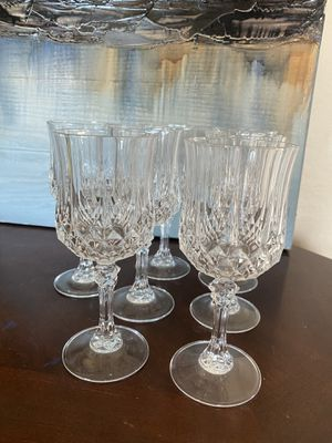 """7 Cristal d'Arques Longchamp Crystal Wine Glass- 6 1/4"""" for Sale in Spring Valley, CA"""