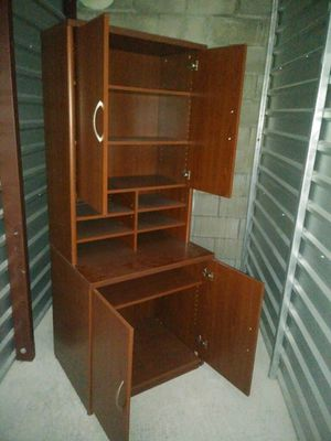 Red wood Shelf w/lower cabinet for Sale in Aloma, FL