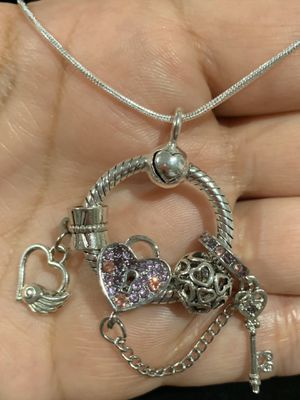 """Pandora style Carrier and charms! Moments collections, 925 silver plate. FREE NECKLACE 20""""in!! for Sale in Fullerton, CA"""
