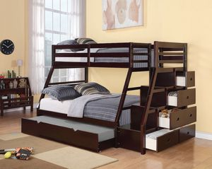 New Jason twin full bunk bed espresso brown wood bunk bed for Sale in Miami, FL