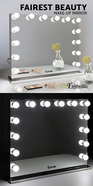 """New in box $300 Vanity Mirror w/ 14 Dimmable LED Light Bulbs, Hollywood Beauty Makeup Power Outlet 32x26"""" for Sale in Whittier, CA"""