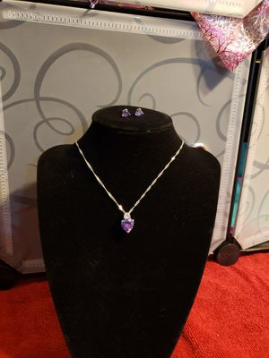 Beautiful purple heart pendant with matching earrings for Sale in Lincoln, NE