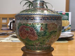 Vintage Chinese cloisonné glass bowl for Sale in Sherwood, OR