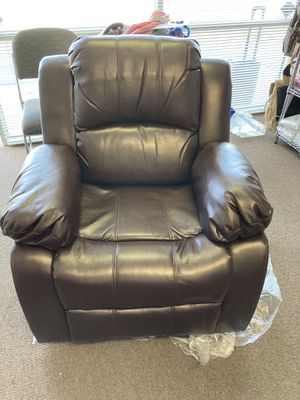 ANJ Recliner Chair Overstuffed Heavy Duty Recliner, Soft Faux Leather Home Theater Seating - Manual Single Sofa (Brown) for Sale in Bakersfield, CA