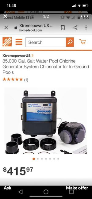 Pool chlorine generator for 35,000 gallons for Sale in Irwindale, CA
