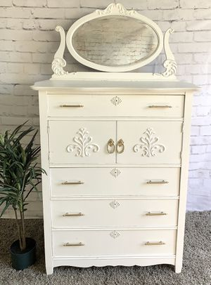 Awesome white and gold solid wood dresser cabinet vanity for Sale in San Diego, CA