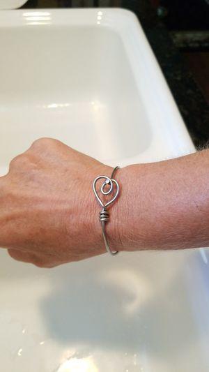 Heart wire wrap silver bracelet for Sale in St. Petersburg, FL