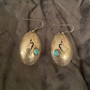 Vintage 1980's Sterling Silver With Genuine Turquoise Earrings - Free Organza Gift Bag ! for Sale in San Antonio, TX