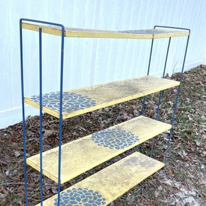 Vintage Mid Century 4 Tier Metal Open Book Shelf Shelves Shelving Unit Plant Stand for Sale in Chapel Hill, NC