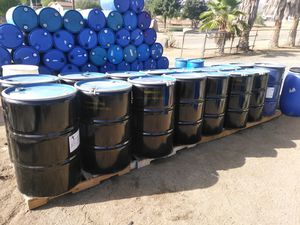 Thick 55 gal steel barrels with removable lids food grade for Sale in Perris, CA