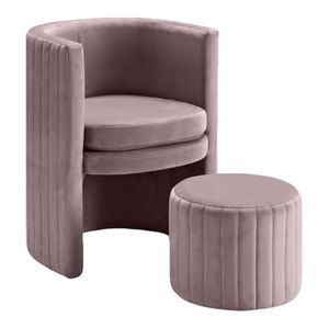 Velvet Barrel Chair and Ottoman - pink for Sale in Los Angeles, CA