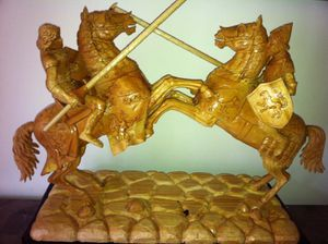 Gladiators wood sculpture made of bass wood for Sale in Alexandria, VA