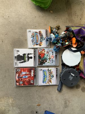 5 PS3 games and 30+ skylander and Disney infinity characters PLUS PS3 console for Sale in Austin, TX