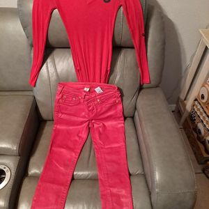 True Religion Red Jeans Bodysuit Outfit for Sale in Brandon, FL