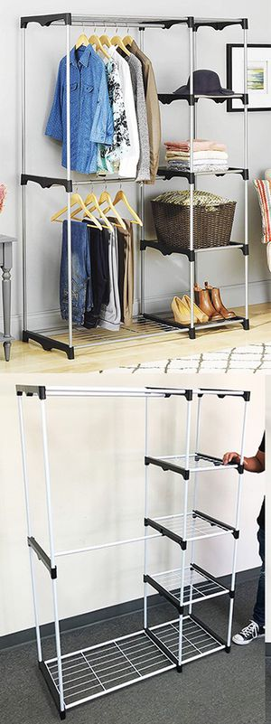 "New $25 each Double Rod Freestanding Closet Heavy Duty Storage Organizer, 45""x19""x68"" for Sale in South El Monte, CA"