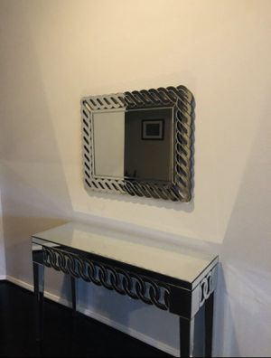 Contemporary Wall Mirror and Mirror Console Table for Sale in Houston, TX