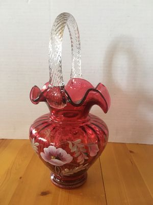Fenton 95th year Glass Legacy Collection Cranberry basket with clear handle hand painted and signed by Bill Fenton and Brian Fluharty. for Sale in Wilmington, CA
