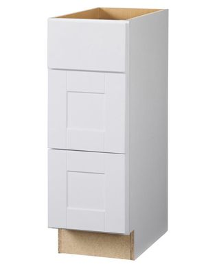 Hampton Bay Shaker Assembled Bathroom Vanity Drawer Base Cabinet w/ Ball-Bearing Drawer Glides in Satin White for laundry kitchen living Orig $203 for Sale in Huntington Beach, CA