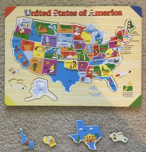 Wooden USA map jigsaw puzzle for Sale in Schaumburg, IL