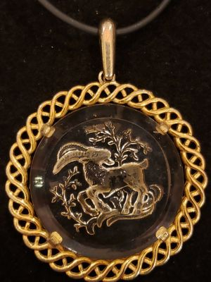 $39! Vintage and antique 1960s Aries Ram zodiac intaglio crystal/glass pendant necklace made by Trifari. for Sale in Largo, FL