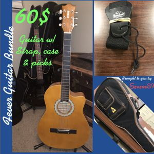 Fever acoustic guitar , strap, an carry case for Sale in Houston, TX