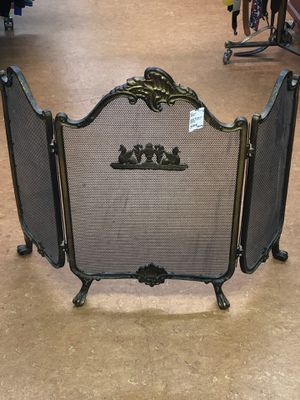 Antique Wrought Iron Fireplace Screen w/ Gold Tone for Sale in Portland, OR