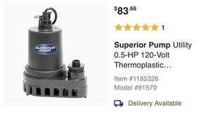 Superior Pump Utility 0.5-HP 120-Volt Thermoplastic Submersible Utility Pump for Sale in Kennesaw, GA